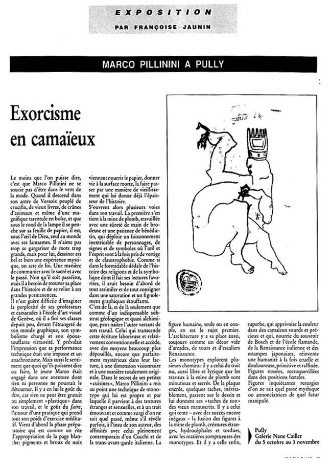 """Exorcisme en camaïeux"". 1990"